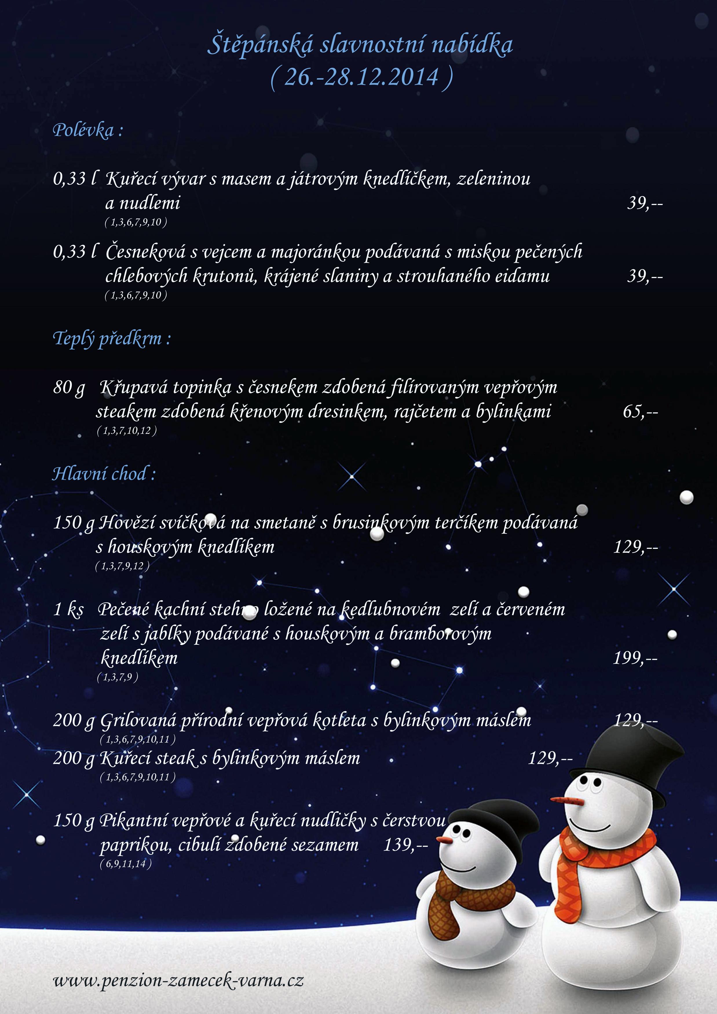 Štěpánská nabídka 26.-28.12.2014